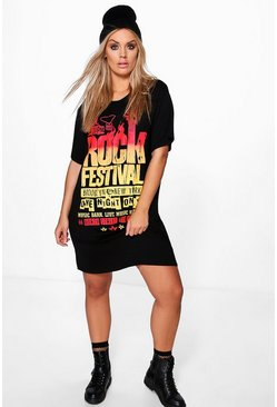 Plus Katie Band Slogan Tshirt Dress