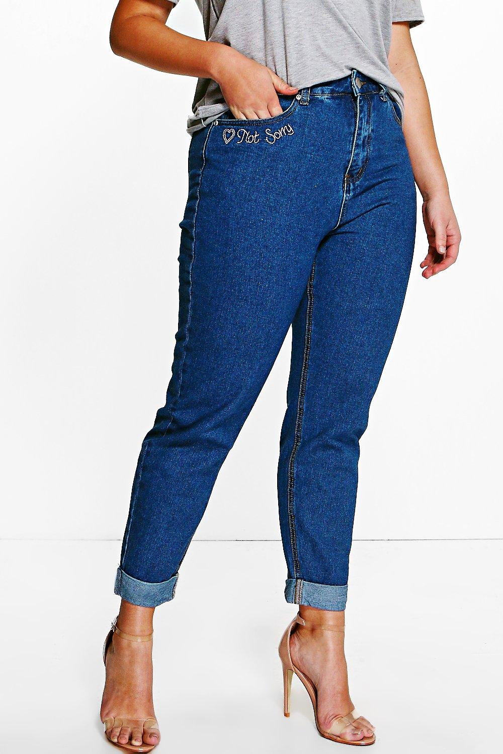 Plus Lottie Embroidered Hem Mom Jean