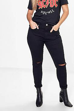 Plus Hannah High Rise Slit Knee Skinny Jean