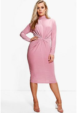 Plus Charlotte High Neck Ruched Midi Dress
