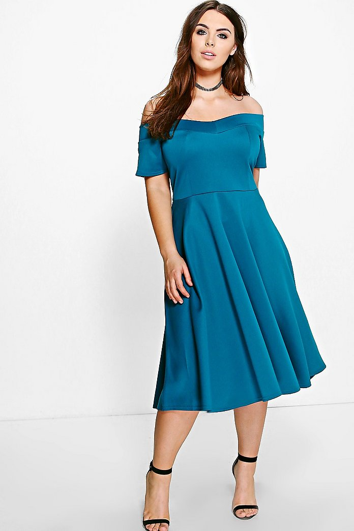Plus Emily Off The Shoulder Skater Dress