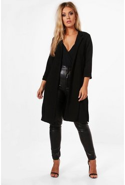 Plus Lucy Roll Sleeve Side Split Duster Coat