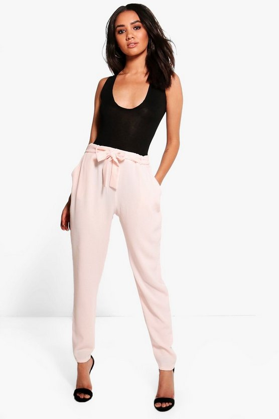 Petite Maria Tie Waist Tappered Trousers