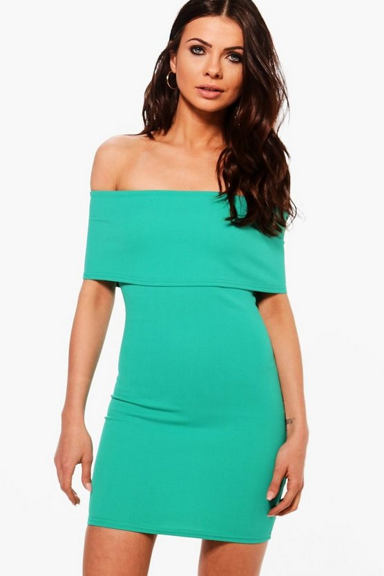 Petite Melanie Oversized Bardot Bodycon Dress