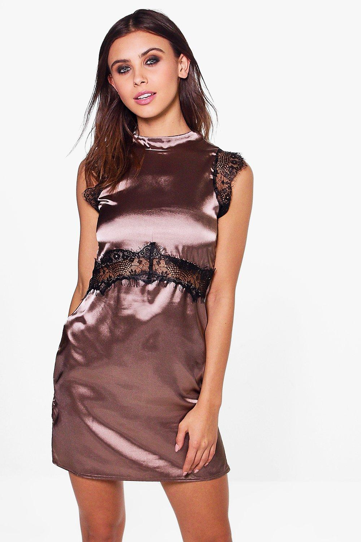 Kate High Neck Satin Lace Dress - mocha
