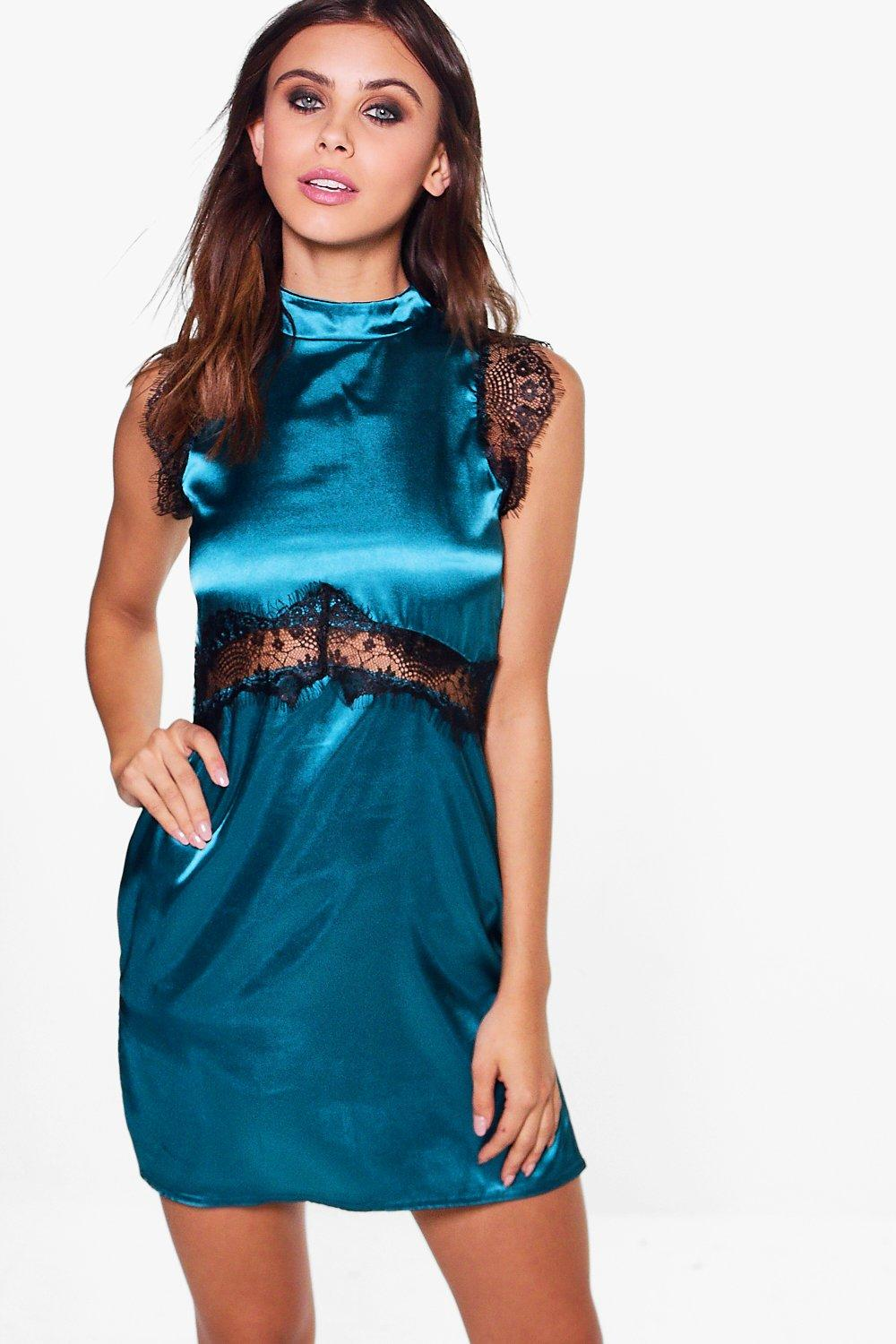 Petite Kate High Neck Satin Lace Dress