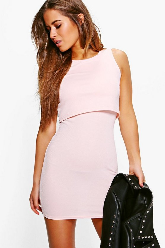 Petite Lydia Double Layer Bodycon Dress
