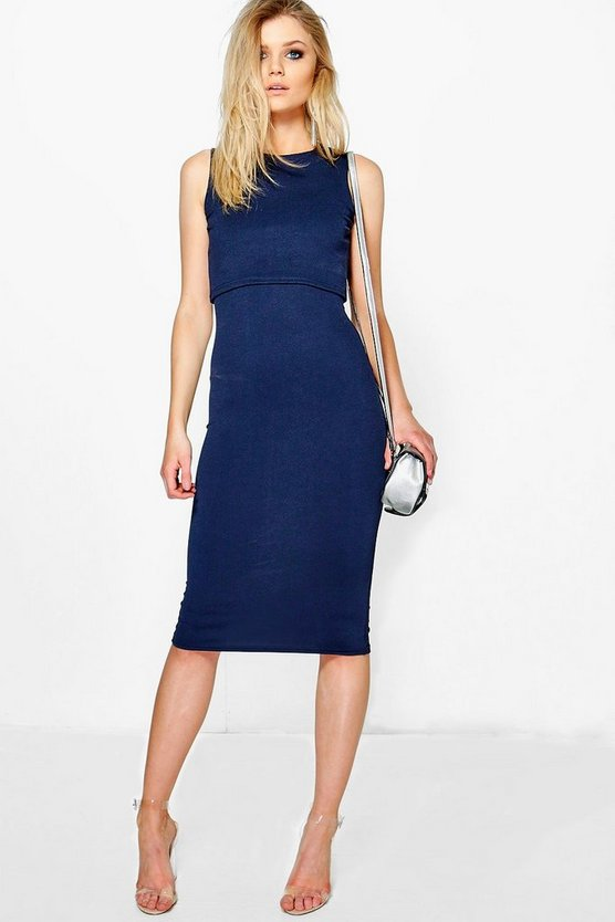 Petite Claire Double Layer Midi Bodycon Dress