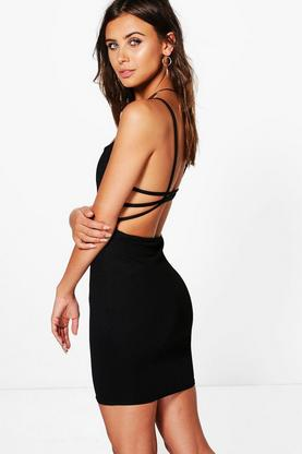 Petite Ellie Strappy Back Crepe Bodycon Dress