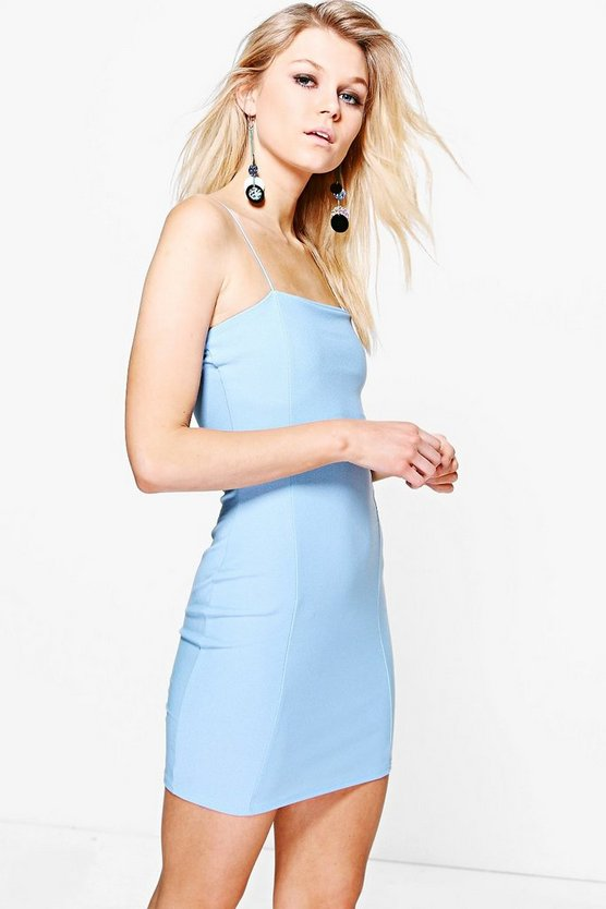 Petite Nadia Crepe Square Neck Bodycon Dress