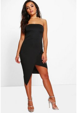 Petite Mona Bandeau Asymmetric Midi Dress