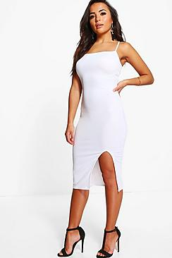 Petite Lucy Split Leg Crepe Midi Dress