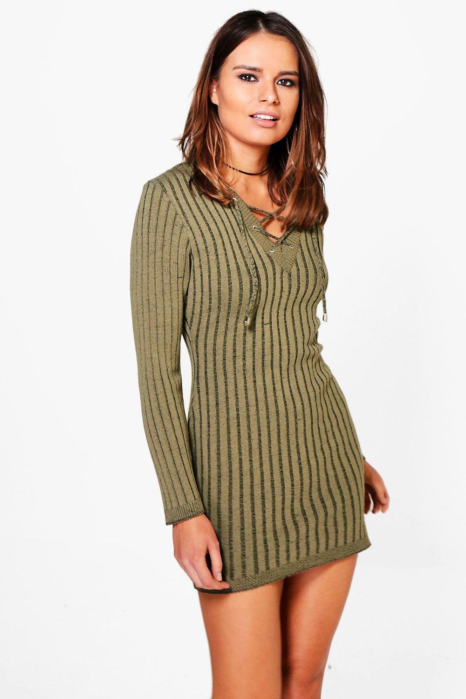 Melissa Lace Up Rib Knit Jumper Dress  khaki
