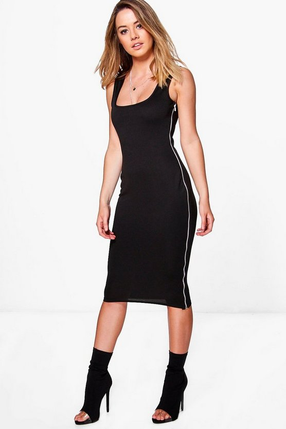 Petite Nina Zip Side Bodycon Midi Dress