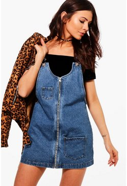 Petite Kitty Zip Front Denim Pinafore Dress