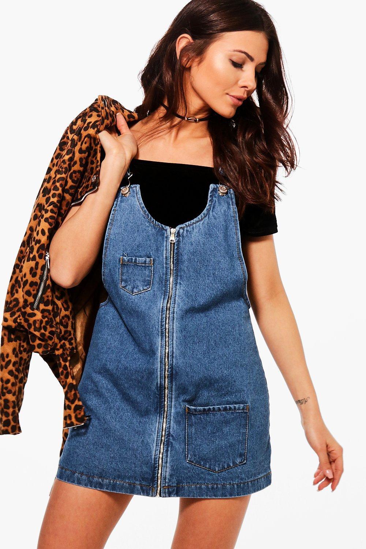 Petite Kitty Zip Front Denim Pinafore Dress | Boohoo