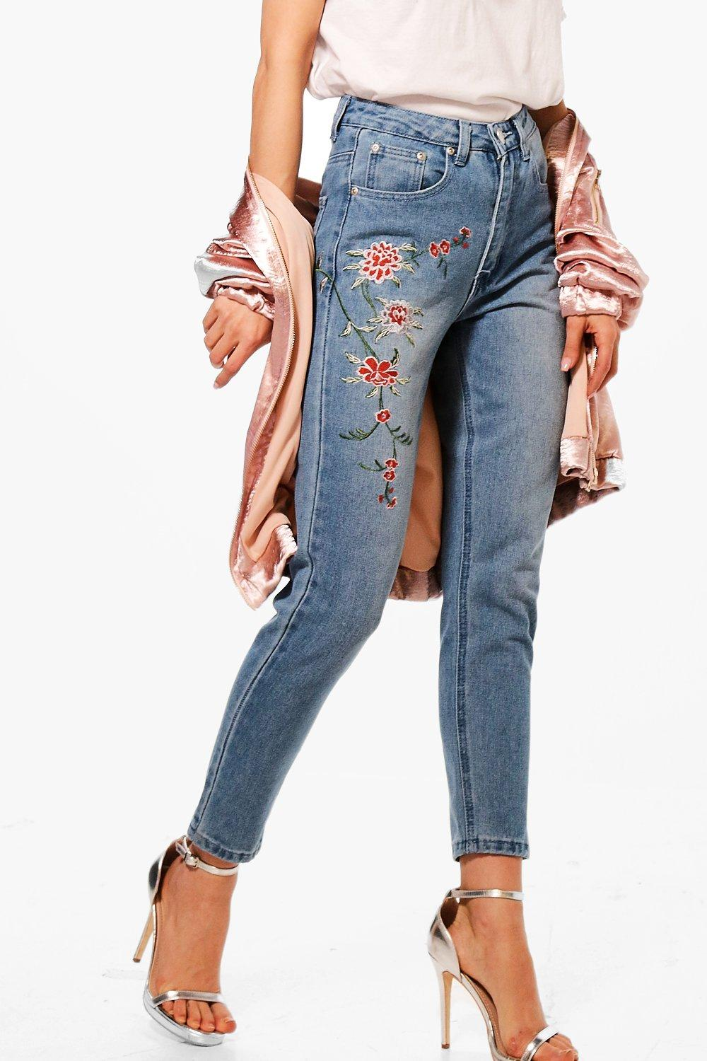Petite Emily Embroidered Mom Jean