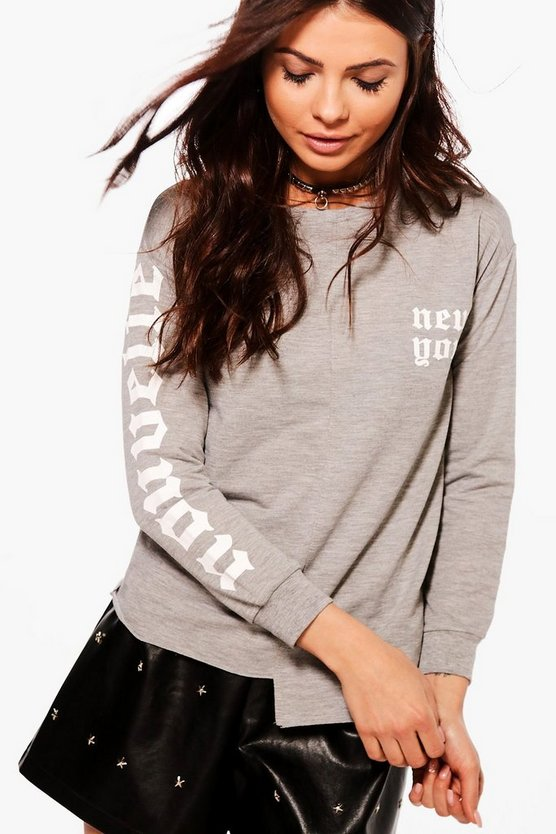 Petite Sarah Asymmetric Printed Sweat