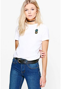 Petite Louise Pineapple Badge Tee