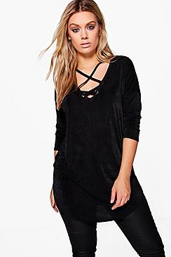 Plus Zoe Cross Detail Tunic Top
