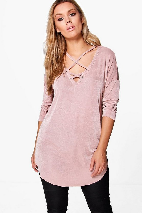 Plus Cross Detail Tunic Top