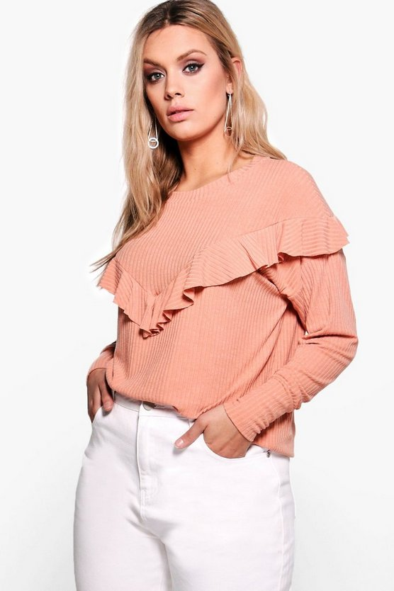 Plus Shannon Ruffle Detail Knitted Rib Top