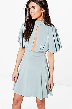 Petite Ivy Keyhole Detail Frill Sleeve Skater Dress