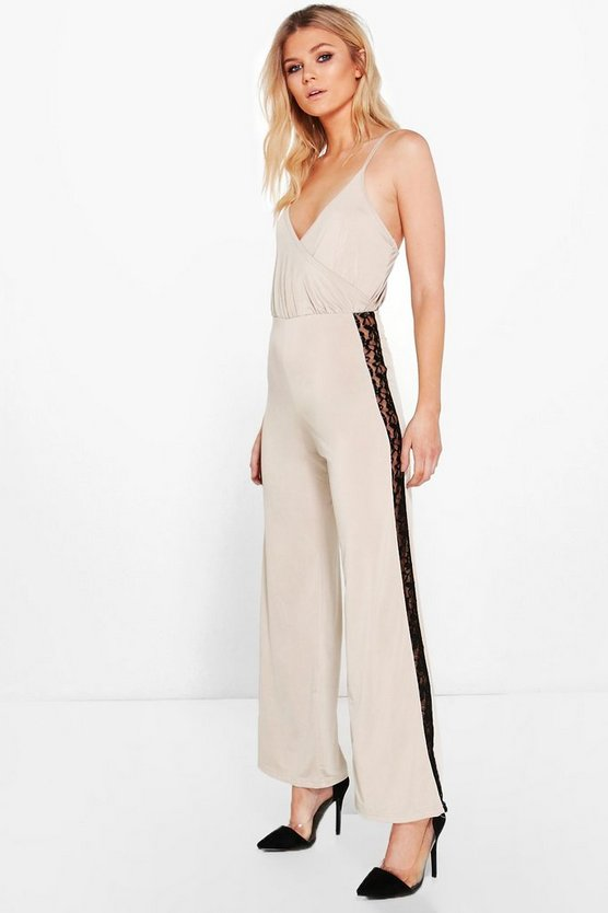 Petite Mollie Wrap Lace Panel Wide Leg Jumpsuit