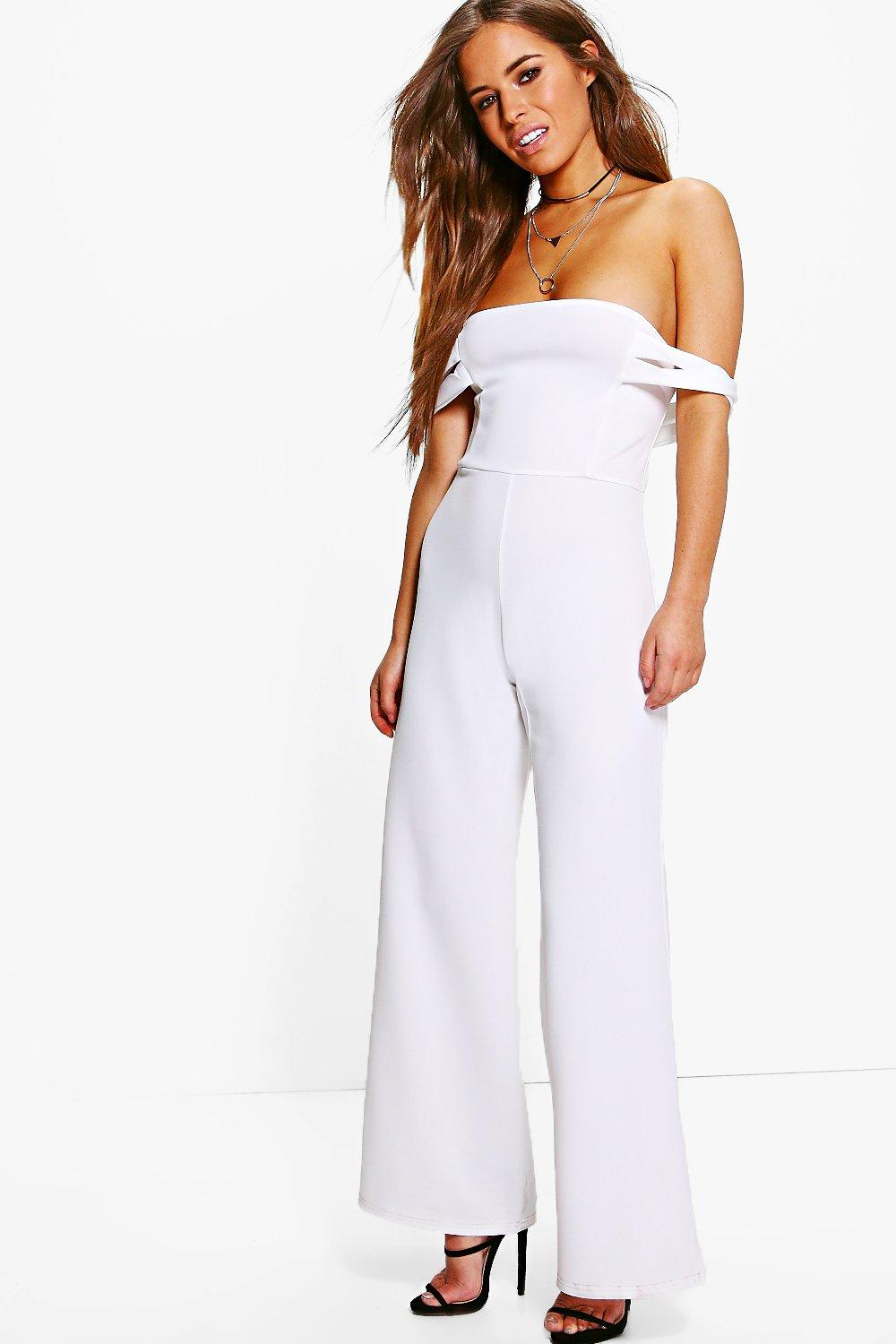 Petite Caitlin Off The Shoulder Wide Leg Jumpsuit