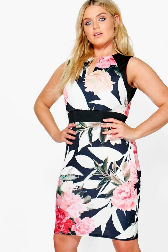Plus Katie Contrast Waistband Floral Midi Dress