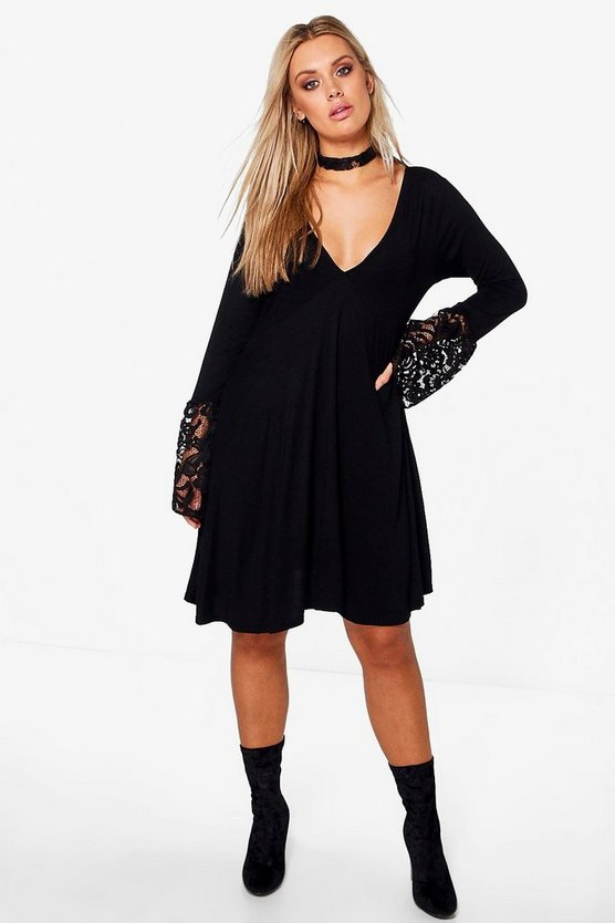 Plus Lara Plunge Lace Detail Skater Dress