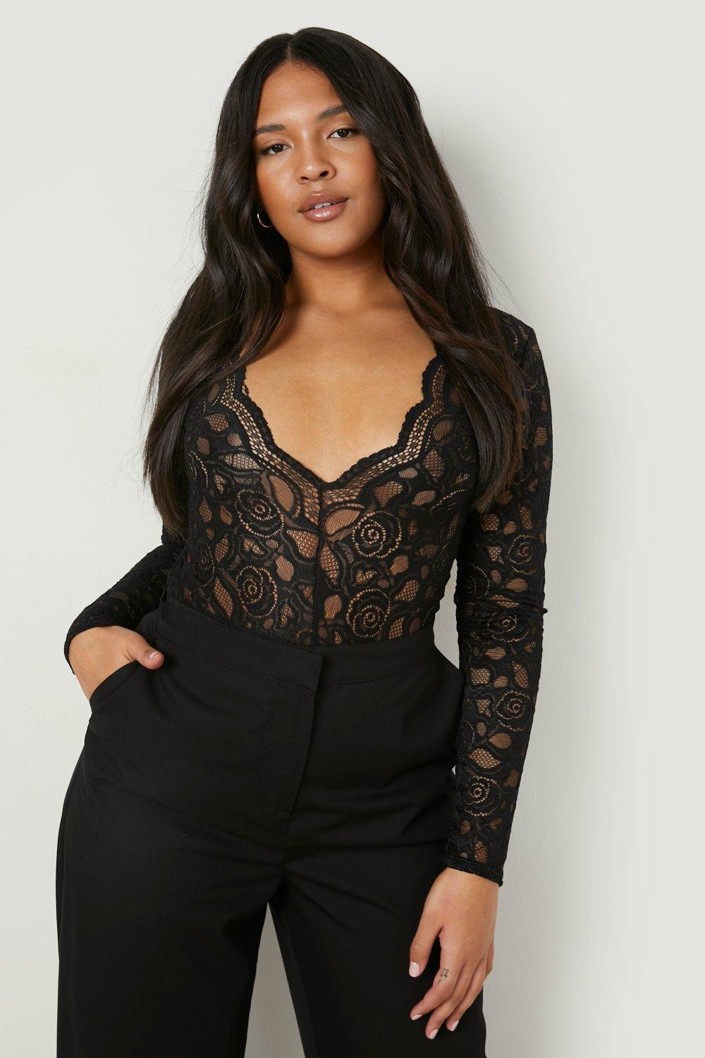 Plus Lucia Plunge V Neck Lace Bodysuit. Hover to zoom