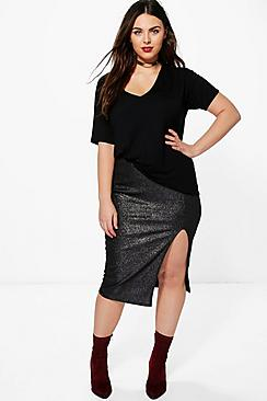 Plus Hayley Metallic Side Split Midi Skirt