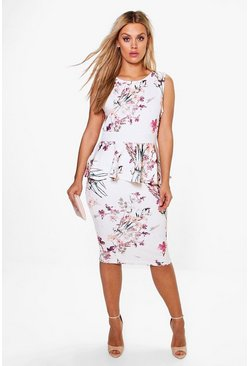 Plus Ruby Sleeveless Peplum Midi Dress