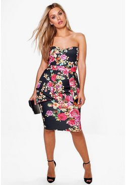Plus Elsa Bandeau Peplum Midi Dress