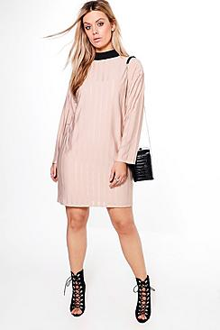 Plus Olivia Sheer Stripe High Neck Shift Dress