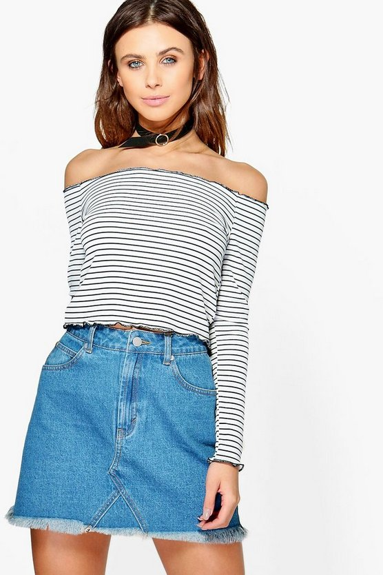 Petite Lara Stripe Frill Edge Crop Top