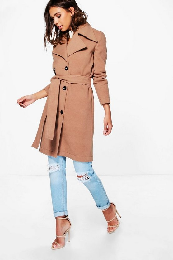 Petite Maya Belted Wool Look Robe Duster Coat | Boohoo