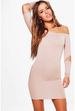 Petite Ivy Cut Out Sleeve Bodycon Dress