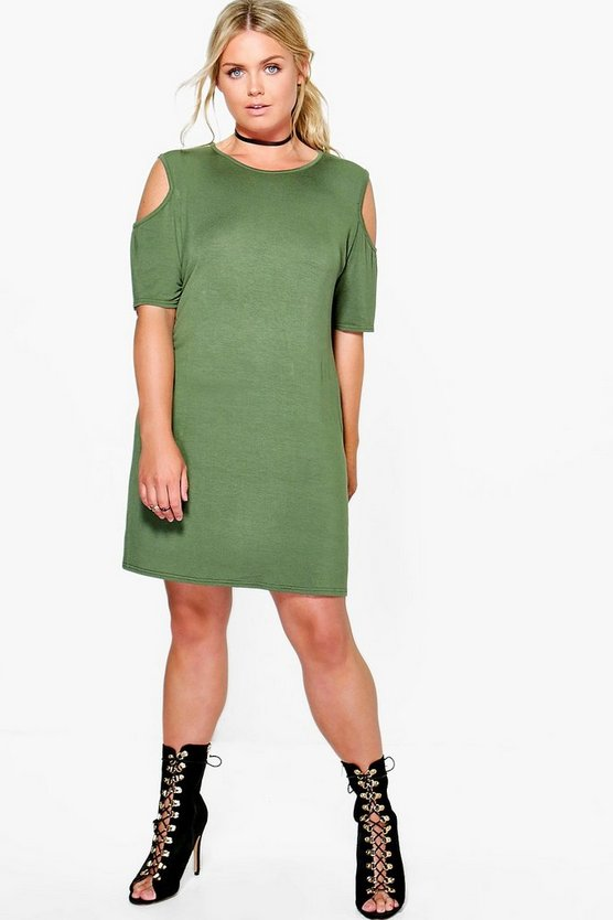 Plus Amber Open Shoulder Shift Dress