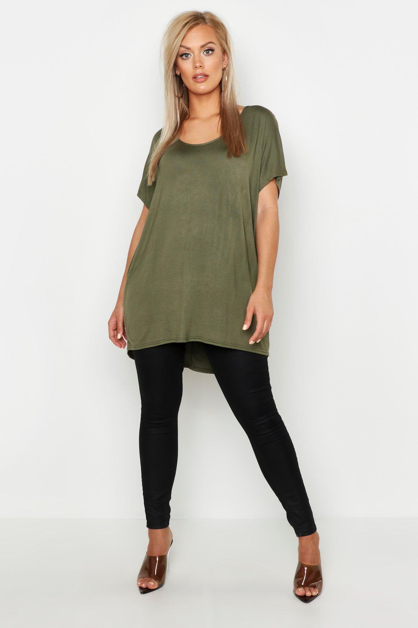 Womens Plus Übergroßes T-Shirt - khaki - 56, Khaki - Boohoo.com