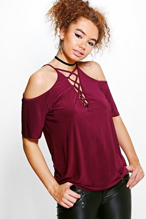 Plus Nina Open Shoulder Lace Up Detail Top