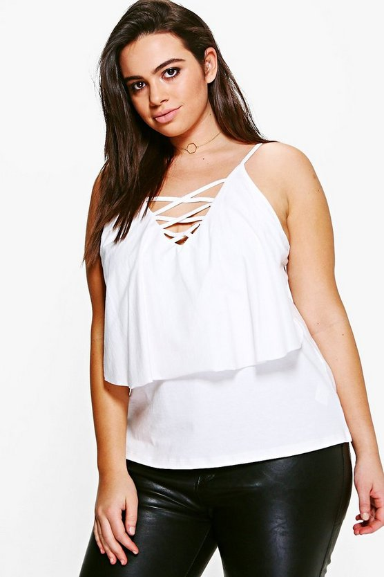 Plus Libby Double Layer Lace Up Cami