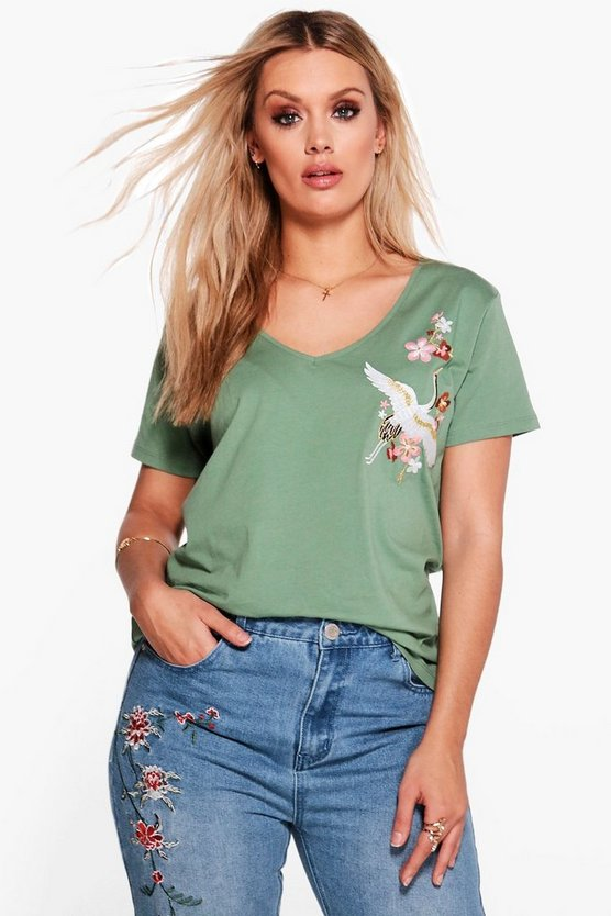 Plus Erin Embroidered V Neck Tee