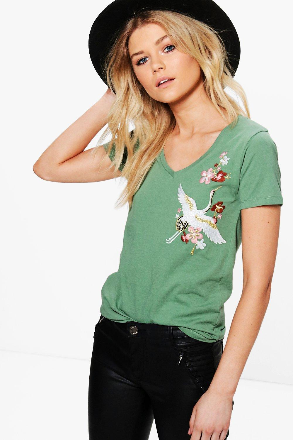 Petite Willow V Neck Embroidered Tee