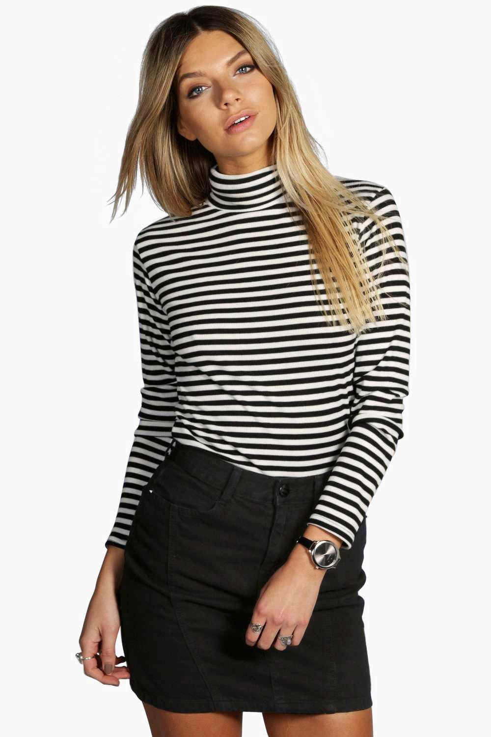 Petite Darcy Ribbed Striped Turtle Neck Top