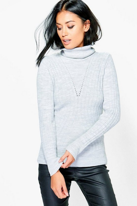 Petite Leila Rib Knit Roll Neck Jumper