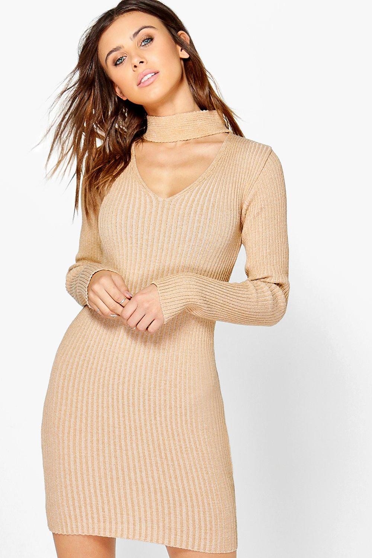Alisha Choker Rib Knit Jumper Dress  camel