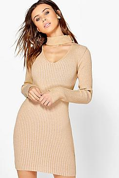 Petite Alisha Choker Rib Knit Jumper Dress