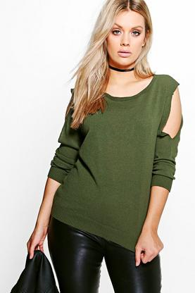 Plus Lizzie Knitted Open Shoulder Jumper